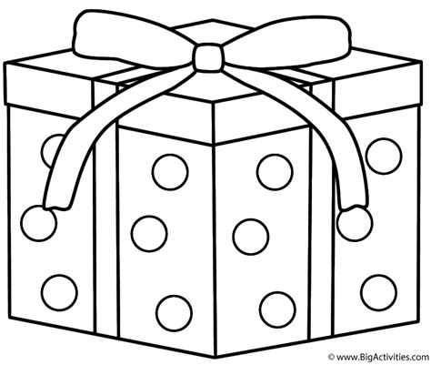 christmas gift with dots coloring page christmas
