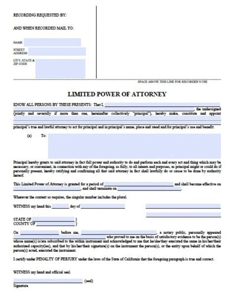 durable power of attorney form for california california limited special power of attorney form