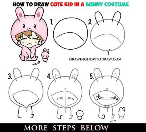 draw  cute chibi character  bunny rabbit onesie