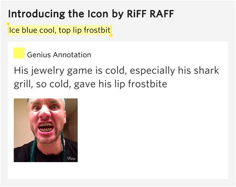 Ice blue cool, top lip frostbit - Introducing the Icon Lyrics Meaning