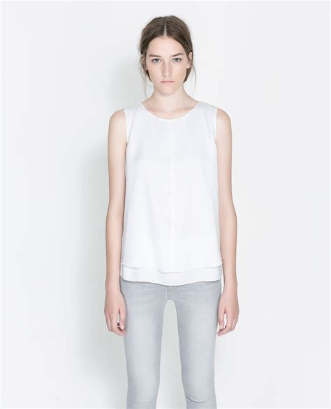 zara blouse zara sleeveless blouse in white lyst