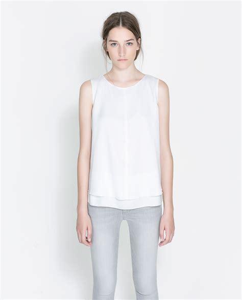 zara white blouse zara sleeveless blouse in white lyst
