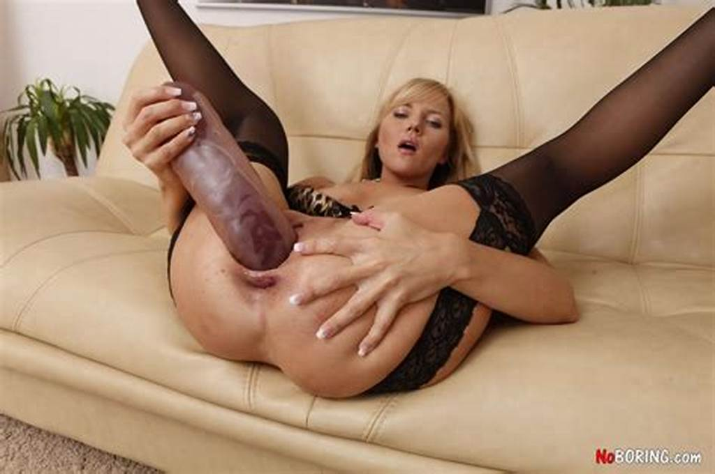 #Horny #Slut #Shoves #A #Huge #Dildo #In #Her #Pussy #And #Asshole #At