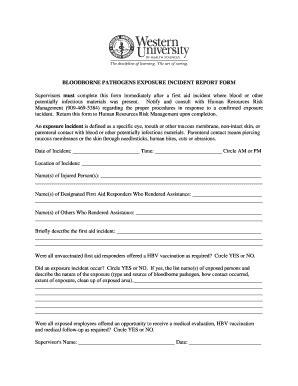 Bloodborne Pathogens Exposure Incident Report Form by Fillable Online Westernu Bloodborne Pathogens Exposure