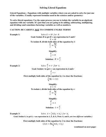 literal equations worksheet solve for the indicated