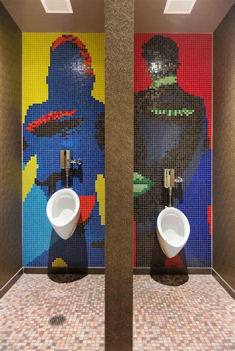 envoy hotel bathroom mosaic silhouette tile mural artaic