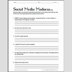 Social Media Madness Grammar Worksheet #1  Free Worksheet For High School Students (pdf File