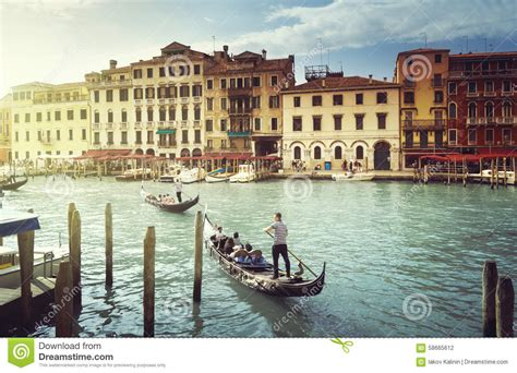Venice Italy Grand Canal At Night Editorial Photo