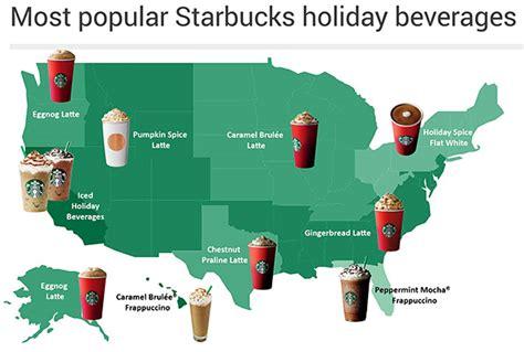 map starbucks holiday drink popularity varies