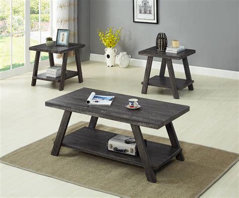 Round gray coffee table with big storage: GTU Furntiure 3Pc Modern Gray Cocktail Living Room Coffee & End Table Set - Walmart.com ...