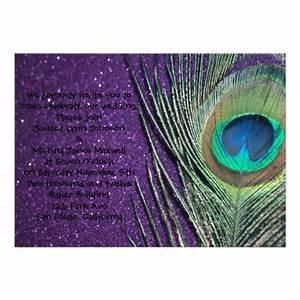Glittery purple peacock wedding 5quot x 7quot invitation card for Peacock wedding invitations with photo