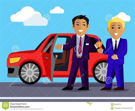 Illustration Of Man Buys A New Car Vector Illustration