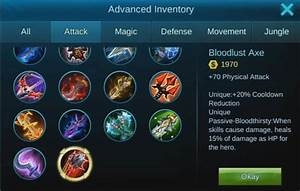 Mobile Legends Item List And Types Updated 2018