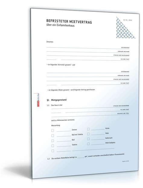 Vermietung Garage Steuer by Befristeter Mietvertrag Einfamilienhaus Muster Zum