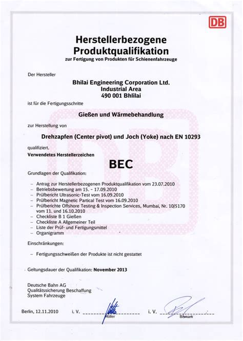 quality awards and certification bhilai engineering