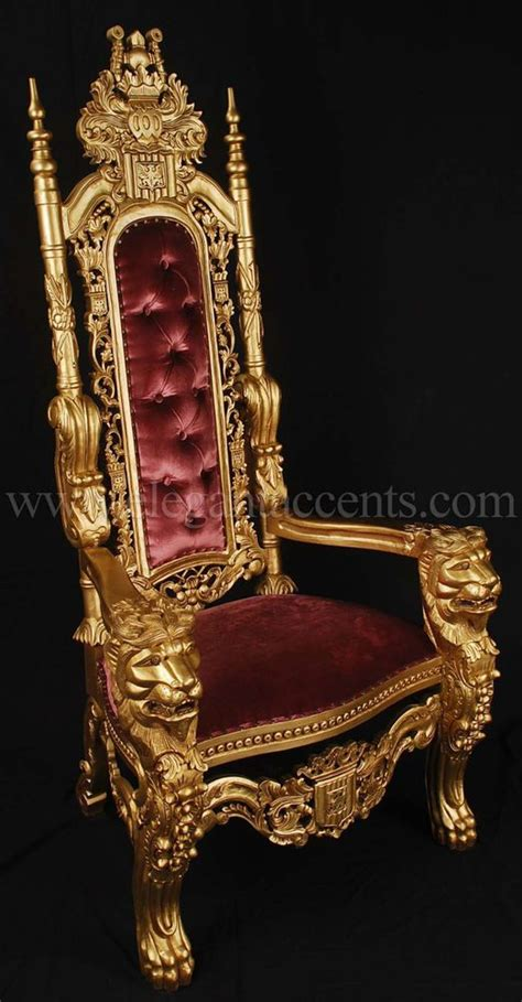 carved mahogany king throne chair gold paint
