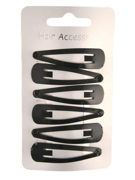black enamelled hair clips pk   metal hair