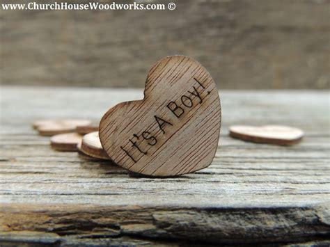 boy wood heart confetti  baby showers rustic