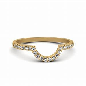 petite curved diamond wedding band in 14k yellow gold With curved diamond wedding ring