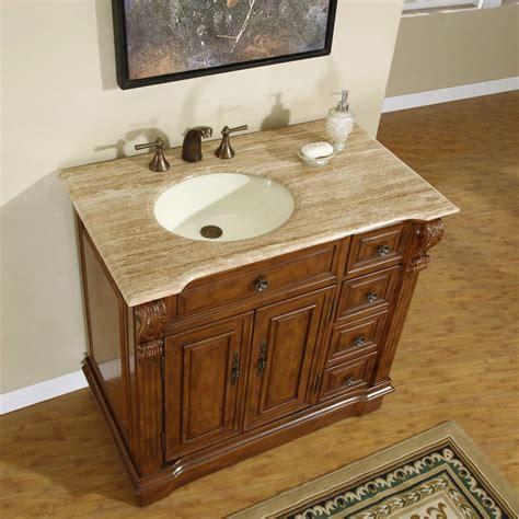 left side sink vanity silkroad exclusive left side traditional 38 quot single sink
