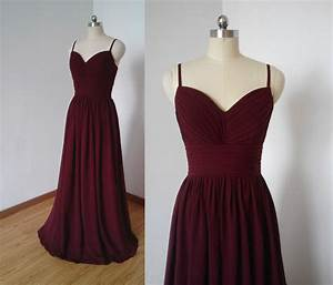 Spaghetti straps burgundy chiffon long bridesmaid dress for Maroon dresses for wedding