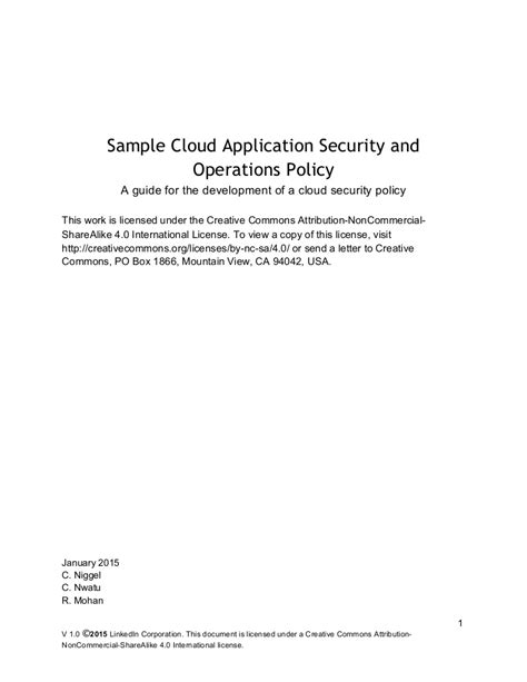 Sample Cloud Application Security and Operations Policy