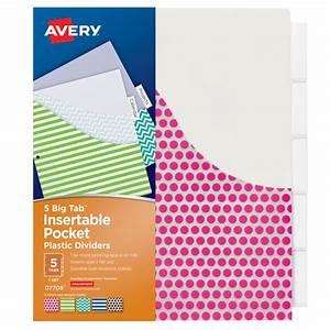 avery big tab 5 tab pocket insertable plastic dividers set With avery big tab insertable dividers template