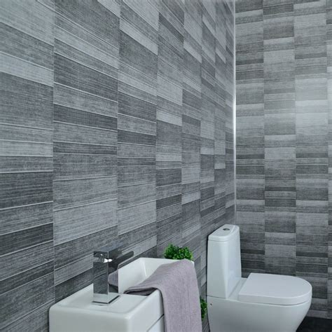 grey bathroom cladding tile effect mm pvc wall panels