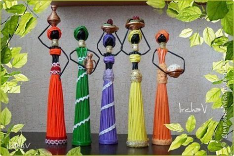 african doll  newspaper tubes simple craft ideas