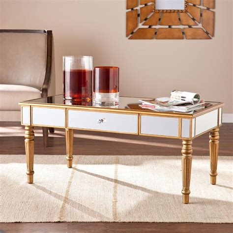 gold mirrored coffee table upton home chagne gold fontaine mirrored cocktail
