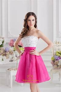 White And Pink Cocktail Dresses,Stock White/Hot Pink ...