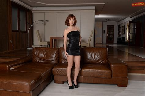 Cute Redhead Tina Hot In Black Dress Stripping In Front Of