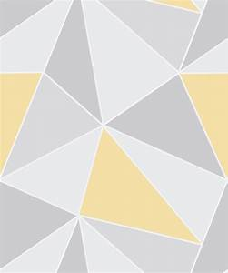 Apex Geometric Yellow Grey Wallpaper - DecorSave Wallpapers