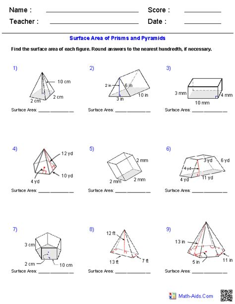 Geometry Worksheets  Surface Area & Volume Worksheets