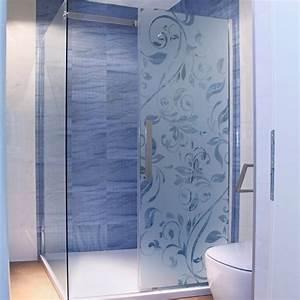 sticker paroi de douche depoli panneau floral With porte de douche coulissante avec stickers occultant fenetre salle de bain