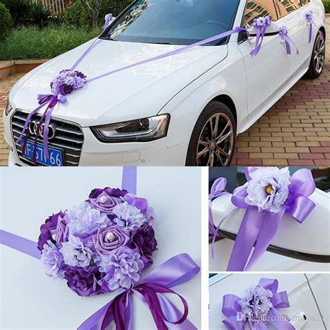 wedding car ribbon married car decorations bridal car decoration wedding car flowers car