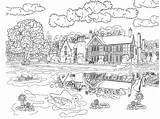 Coloring Pages Log Cabins Cabin Winter Scenery Colouring Sheets sketch template
