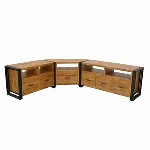 Meuble Angle Tv : meuble d angle salon bois maison design ~ Teatrodelosmanantiales.com Idées de Décoration