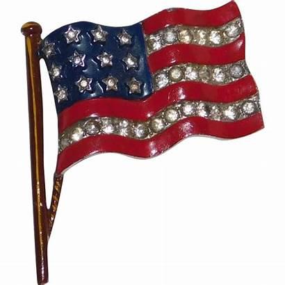 Stripes Patriotic Stars Flag War Brooch Alfred