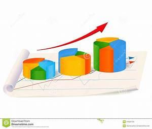 Growing Pie Diagram With Arrow On Paper  Stock Vector