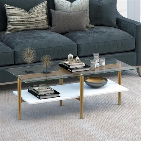 So if your searching for a glass coffee table, black coffee table or a more subtle oak coffee table please feel free to peruse our fine selection. Hudson&Canal Otto Gold with White Lacquer Shelf Coffee Table CT0057 | Furniture, Living room ...