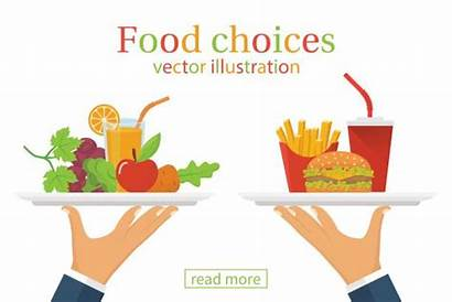 Healthy Junk Eating Choice Vector Illustrations Fast