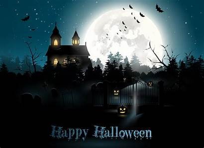 Halloween Moon Night Pumpkin Cemetery Holiday Bats