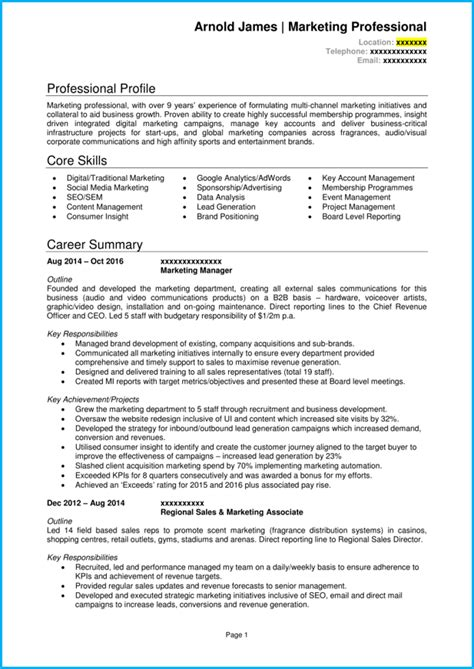 marketing manager cv  writing guide  noticed