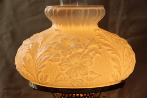 vintage fenton milk glass lamp poppy floral student lamp