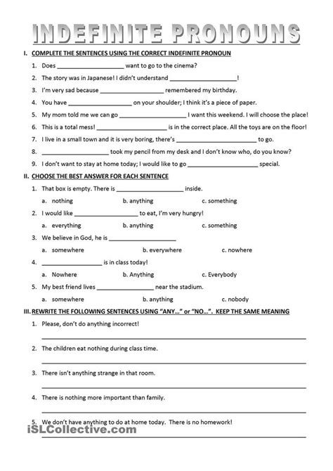 pronoun worksheets middle school infinte pronoun best