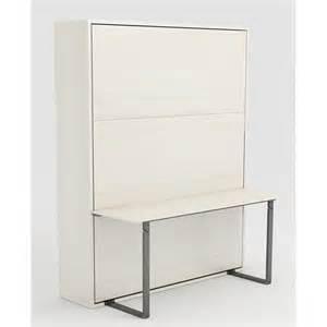 Lit Surélevé Avec Bureau Pas Cher armoire lit escamotable stone 160x200 blanc bureau achat