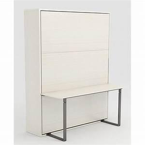 Armoire Lit Pas Cher : armoire lit escamotable stone 160x200 blanc bureau achat ~ Nature-et-papiers.com Idées de Décoration