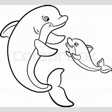 Coloring Pages Marine Wild Animals Mother Dolphin Swims With Her Little Cute Baby Dolphin