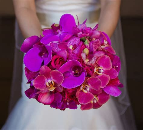 Bridal Bouquet Of Magenta Phalaenopsis And Fuchsia Orchids